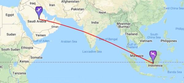 كم ساعه بالطائرة من الرياض الى اندونيسيا من الرياض الى اندونيسيا كم ساعه المسافة من الرياض الى اندونيسيا سوبر مجيب